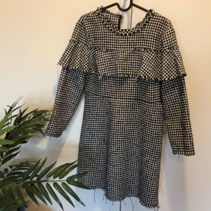 Zara houndstooth black and white dress size M